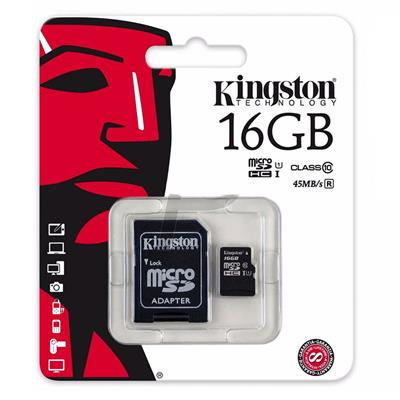 MEMORIA SD MICRO 16GB KINGSTON CLASE 10 45MB