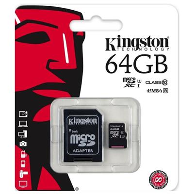 MEMORIA SD MICRO 64GB KINGSTON CLASE 10 45MB