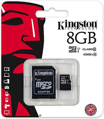 MEM SD MICRO 8GB KINGSTON CLASE 10 45MB