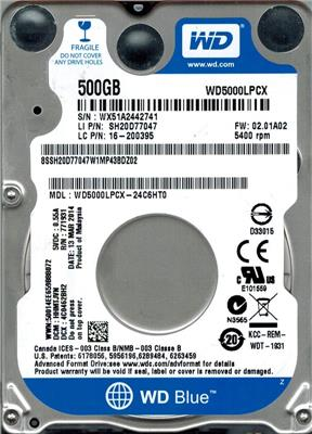 HD 500GB W.DIGITAL 5400 SATA NOTEBOOK